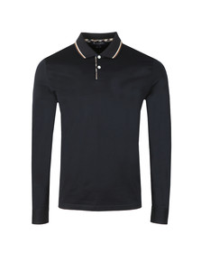 Aquascutum Mens Blue Bert LS Polo With Vicuna Tipping