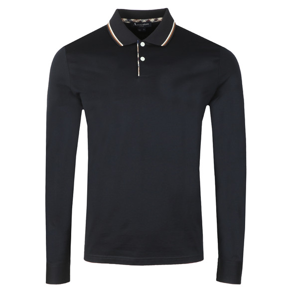Aquascutum Mens Blue Bert LS Polo With Vicuna Tipping main image