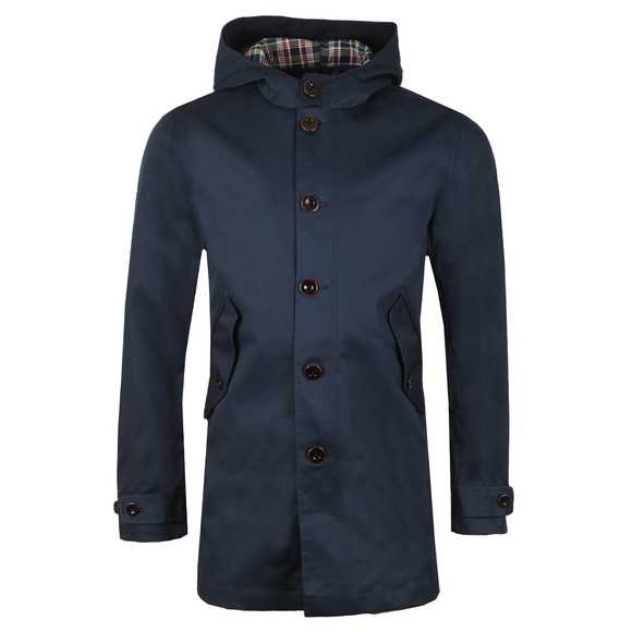 Pretty Green Mens Blue Bonded Hooded Parka main image