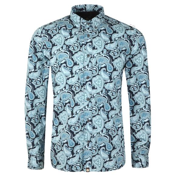 Pretty Green Mens Blue Classic Fit Paisley Print Shirt main image