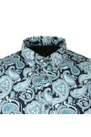 Pretty Green Mens Blue Classic Fit Paisley Print Shirt