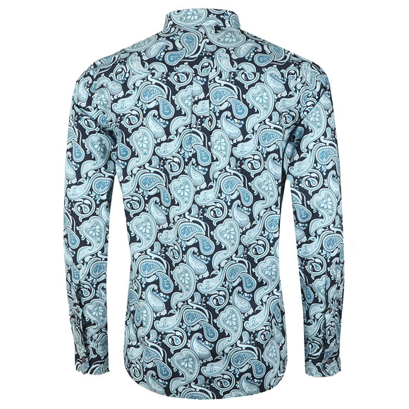 Pretty Green Mens Blue Classic Fit Paisley Print Shirt main image
