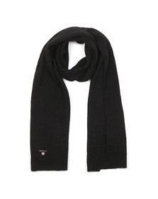 Gant Mens Black Wool Knit Scarf
