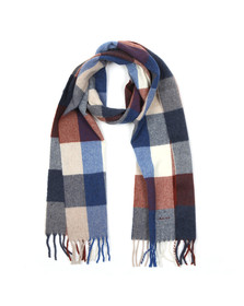 Gant Mens Blue Multicheck Scarf