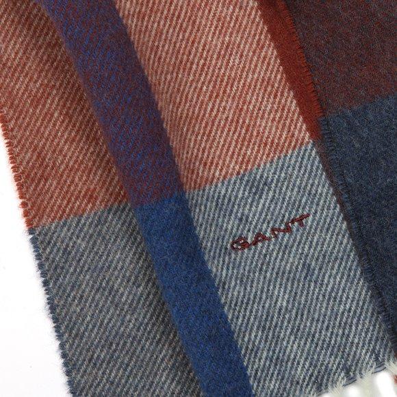 Gant Mens Blue Multicheck Scarf main image