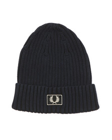 Fred Perry Mens Blue 2 Tone Beanie