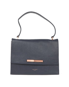 Ted Baker Womens Blue Jessi Concertina Leather Shoulder Bag