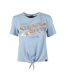 Superdry Womens Blue Toyko 7 Emboss Knot Front Tee