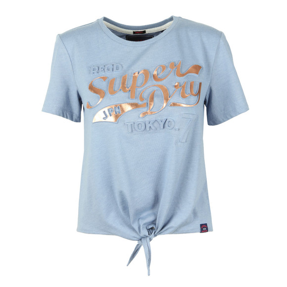 Superdry Womens Blue Toyko 7 Emboss Knot Front Tee main image