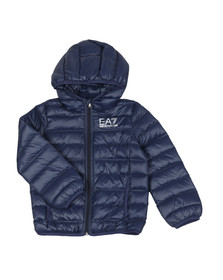 EA7 Emporio Armani Boys Blue Hooded Down Jacket