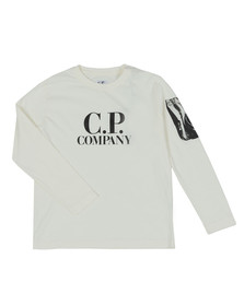 C.P. Company Undersixteen Boys Off-white Printed Viewfinder Long Sleeve T Shirt