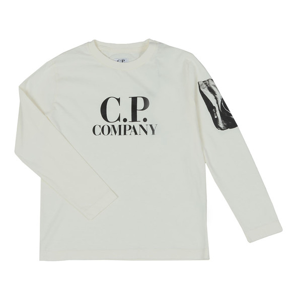 C.P. Company Undersixteen Boys Off-White Printed Viewfinder Long Sleeve T Shirt main image