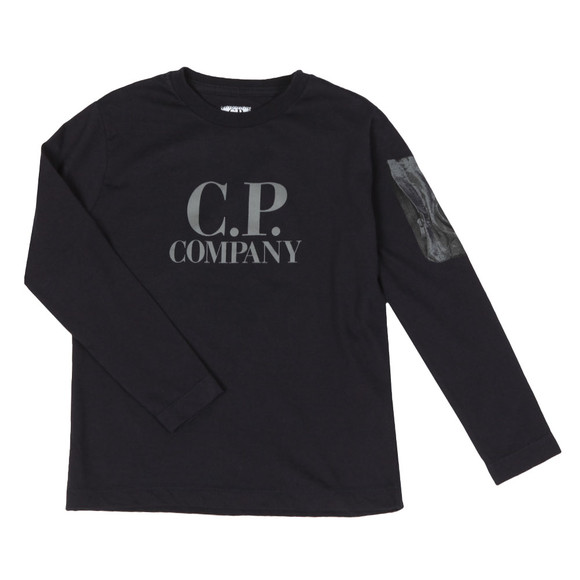C.P. Company Undersixteen Boys Blue Printed Viewfinder Long Sleeve T Shirt main image