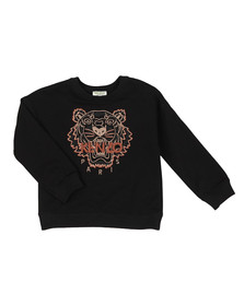 Kenzo Kids Girls Black Embroidered Tiger Sweat