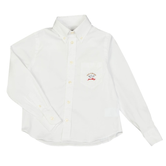 Paul & Shark Cadets Boys White Embroidered Logo Shirt main image