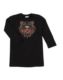 Kenzo Kids Girls Black Tiger Embroidered Sweat Dress