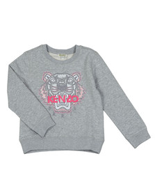Kenzo Kids Girls Grey Embroidered Tiger Sweat