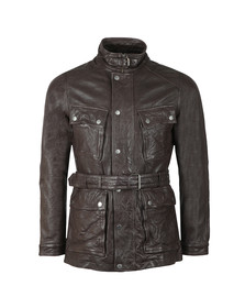 Pretty Green Mens Brown Leather Zip Through Jacket