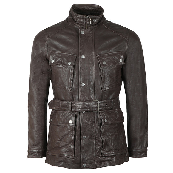 Pretty Green Mens Brown Leather Zip Through Jacket main image