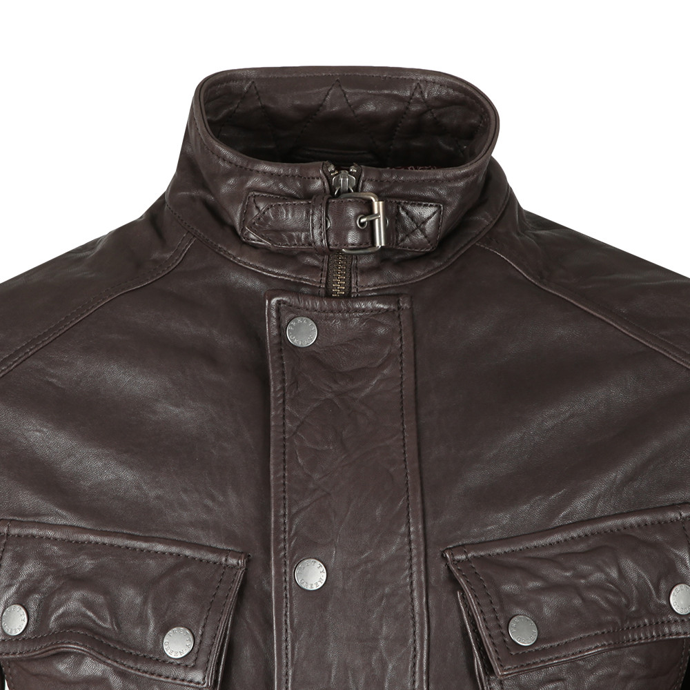 3f88e60be323 Pretty Green Leather Zip Through Jacket | Oxygen Clothing