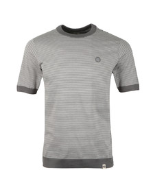Pretty Green Mens Grey S/S Striped Ribbed Tee