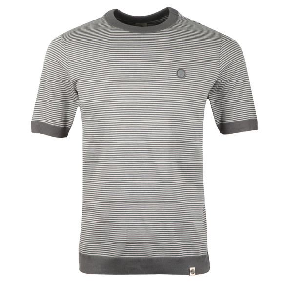Pretty Green Mens Grey S/S Striped Ribbed Tee main image