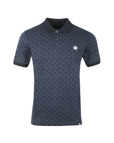 Pretty Green Mens Blue Textured Polo