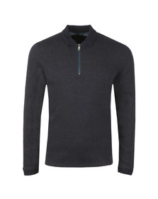Ted Baker Mens Blue Caoco LS Zip Detail Polo
