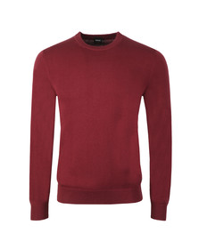 BOSS Mens Red Casual Albonok Crew Neck Jumper