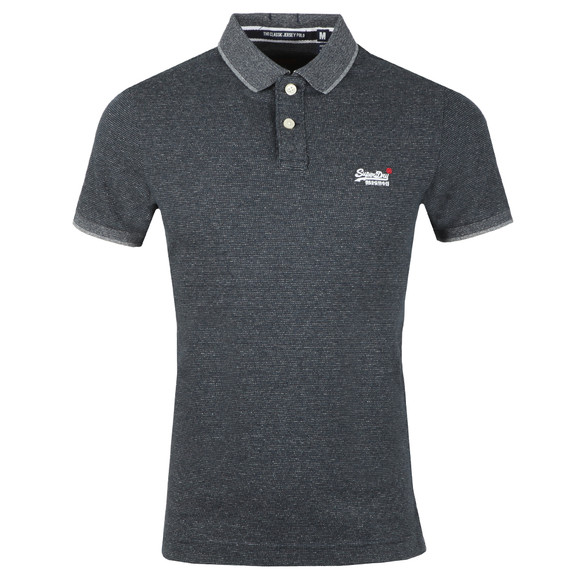 Superdry Mens Blue Classic SS Jacq'd Jersey Polo main image