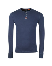 Superdry Mens Blue Heritage Grandad LS Top