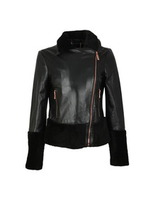 Ted Baker Womens Black Rosania Zip Off Shearling Biker Jacket