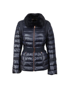 Ted Baker Womens Blue Yelta Faux Fur Collar Down Jacket