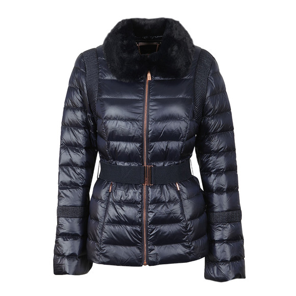 Ted Baker Womens Blue Yelta Faux Fur Collar Down Jacket main image