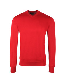 Emporio Armani Mens Red Knitted V Neck Jumper