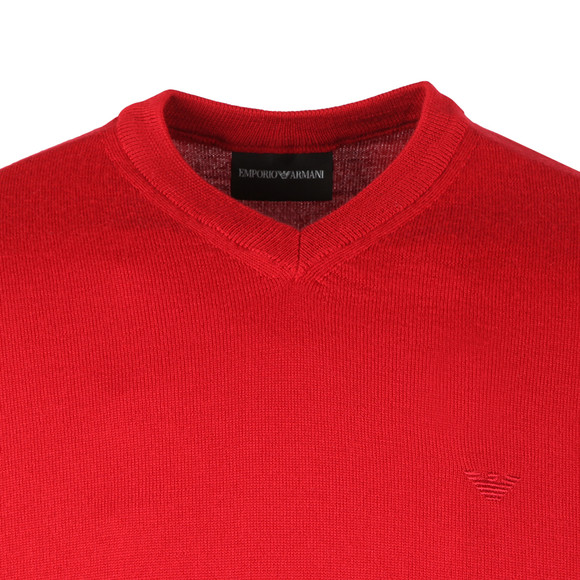 Emporio Armani Mens Red Knitted V Neck Jumper main image