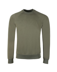 Emporio Armani Mens Green Embosses Logo Sweat