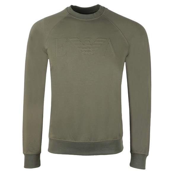 Emporio Armani Mens Green Embosses Logo Sweat main image
