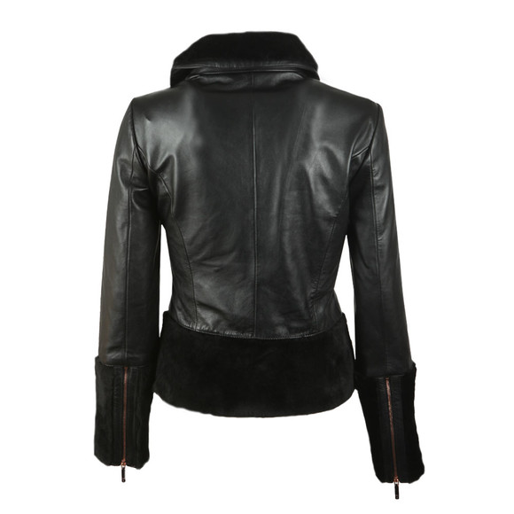 Ted Baker Womens Black Rosania Zip Off Shearling Biker Jacket main image