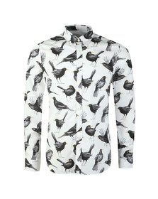 Pretty Green Mens White Beatles Blackbird Print Shirt