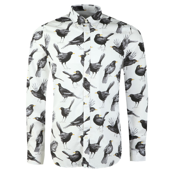 Pretty Green Mens White Beatles Blackbird Print Shirt main image