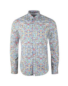 Pretty Green Mens Blue Beatles Moscow Print Shirt