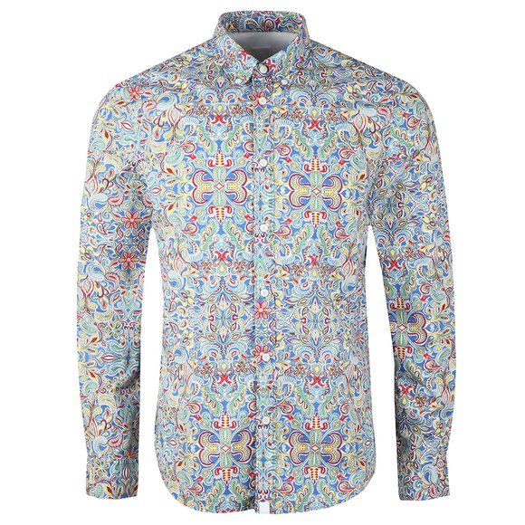 Pretty Green Mens Blue Beatles Moscow Print Shirt main image