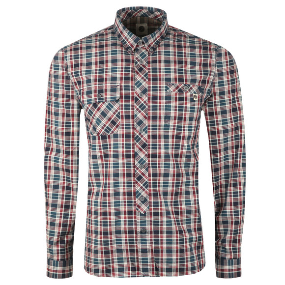 Pretty Green Mens Blue Classic Fit Check Shirt main image