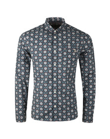 Pretty Green Mens Blue Slim Fit Leaf Print Shirt