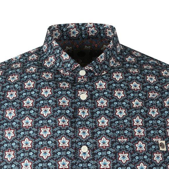 Pretty Green Mens Blue Slim Fit Leaf Print Shirt main image