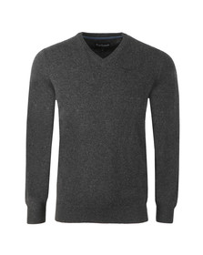Barbour Lifestyle Mens Grey Lambswool V-Neck Jumper