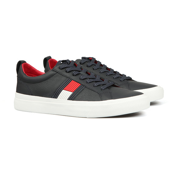 Tommy Hilfiger Mens Black Leather Trainer main image