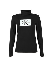 Calvin Klein Jeans Womens Black Monogram Box Long Sleeve T Shirt