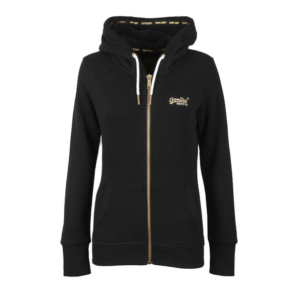 Superdry Womens Black Orange Label Elite Zip Hoody main image